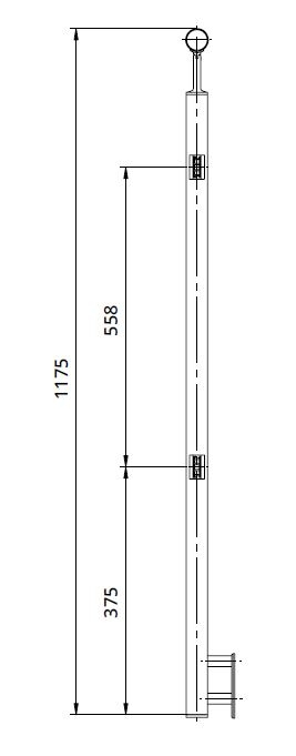 Montant intermediar patrat echipat pentru sticla fixare pe laterala 1