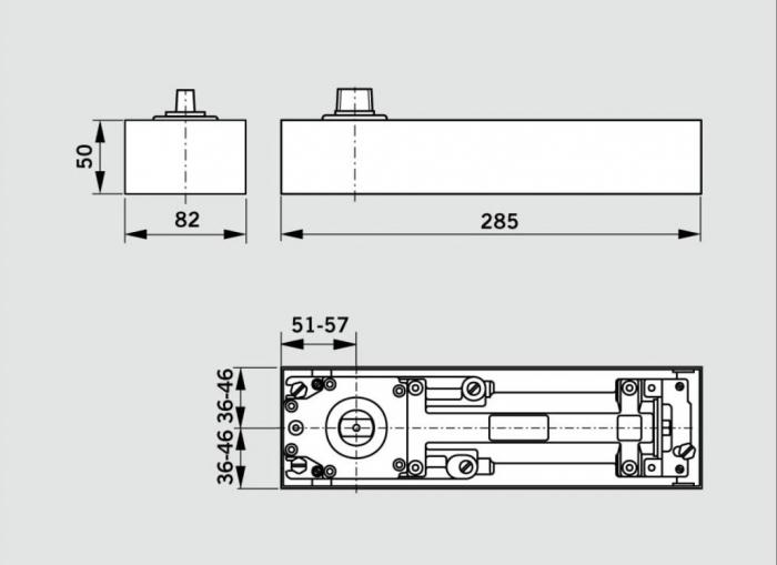 Amortizor pardoseala Dorma BTS 75V EN 1-4 cu placa si insert standard/blocaj la 90º 1