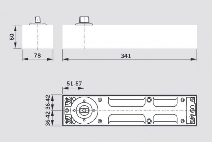 Amortizor pardoseala Dorma BTS 80 EN 4 cu placa si insert standard 1