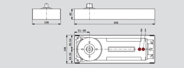 Amortizor pardoseala Dorma BTS 84 EN 3 cu placa si insert standard/blocaj la 90º 1