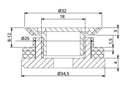 Conector conic reglabil sticla 8-12 mm 1