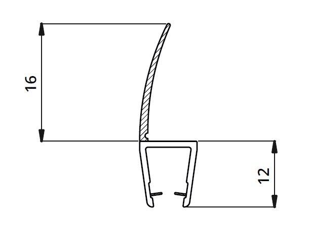 Garnitura ultraclara cu banda 16 mm la 180° cabina dus sticla 8 mm 1