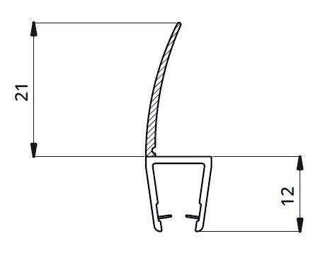 Garnitura ultraclara cu banda 21 mm la 180° cabina dus sticla 8 mm [1]