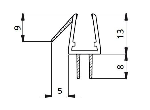 Garnitura ultraclara cu 2 benzi pe mijloc cabina dus sticla 8 mm 1
