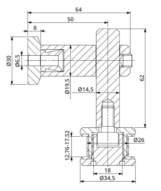 Conector 90° reglabil perete/sticla 12,76-17,52 mm 1