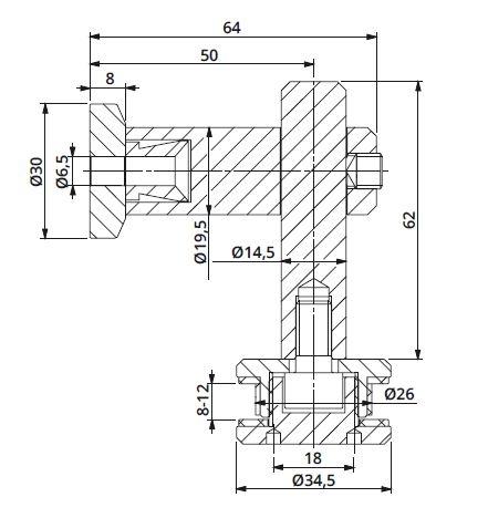 Conector 90° reglabil perete/sticla 8-12 mm 1