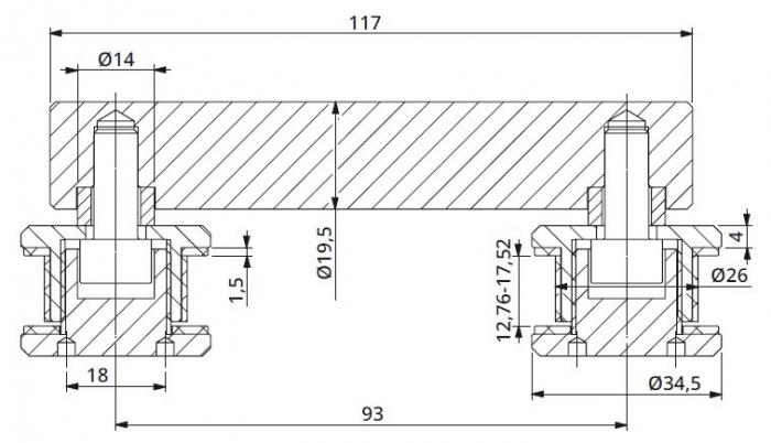 Conector dublu la 180° sticla/sticla 12,76-17,52 mm 1