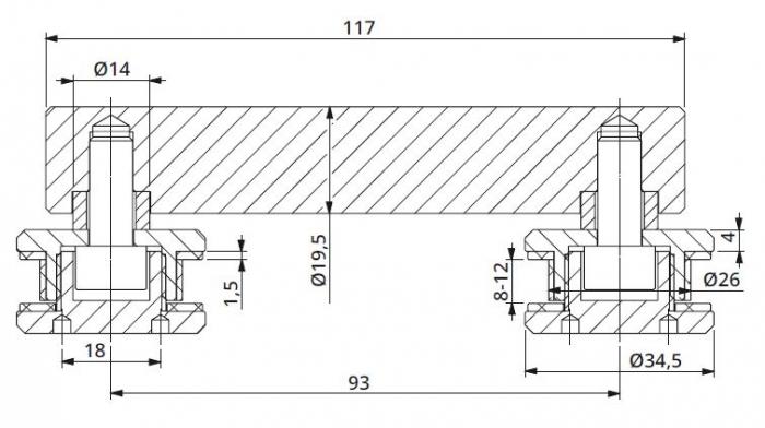 Conector dublu la 180° sticla/sticla 8-12 mm 1