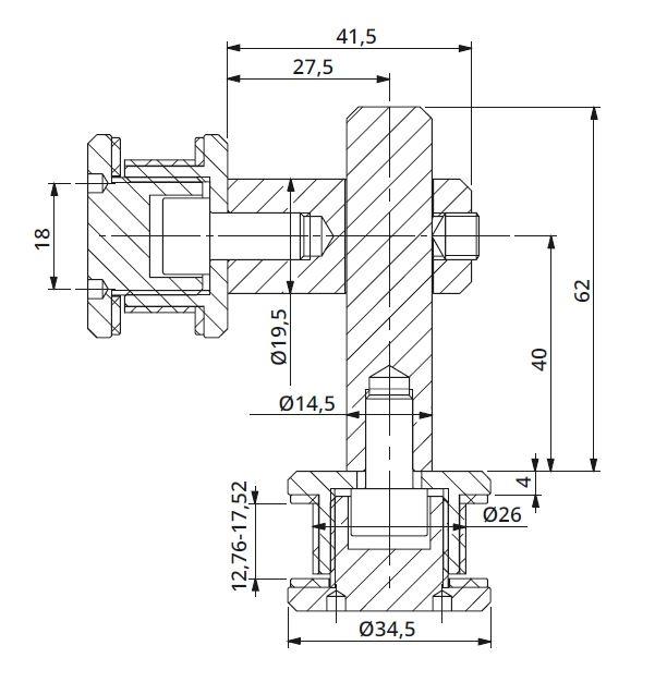 Conector dublu reglabil la 90° sticla/sticla 12,76-17,52 mm 1