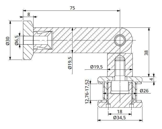 Conector unghi ajustabil perete/sticla 12,76-17,52 mm 1