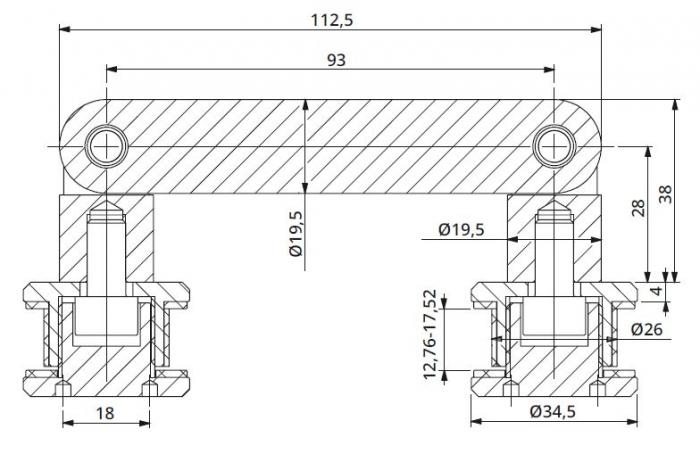 Conector dublu unghi ajustabil la 180° sticla/sticla 12,76-17,52 mm 1