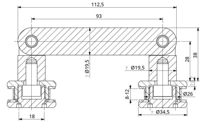 Conector dublu unghi ajustabil la 180° sticla/sticla 8-12 mm 1
