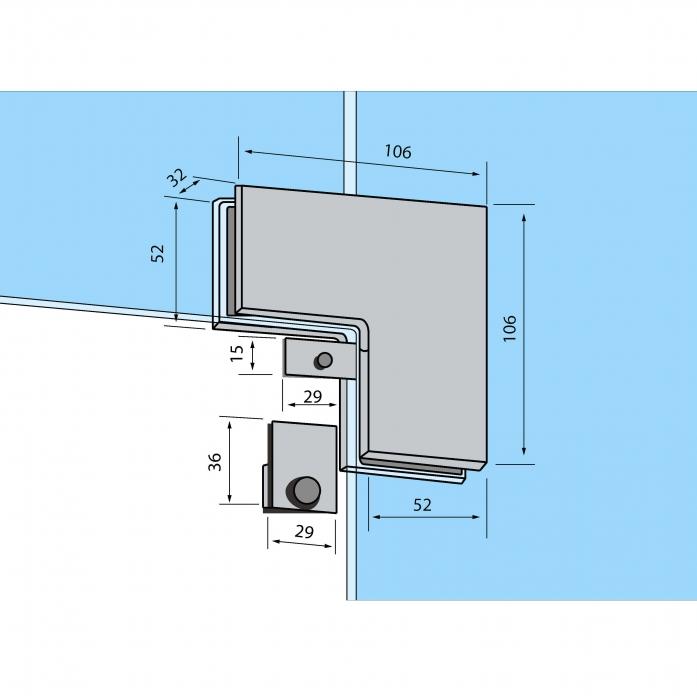 Conector de colt sticla/sticla RD-60 1