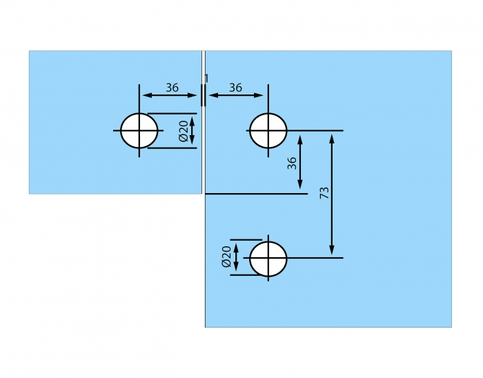 Conector de colt sticla/sticla RD-60 2