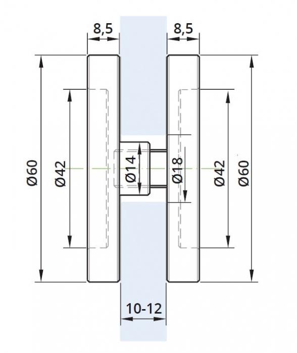 Maner scoica Ø60 mm, sticla 10-12 mm 1