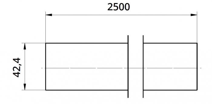 Mana curenta profilata Ø42,4 mm, L=2500 mm 1
