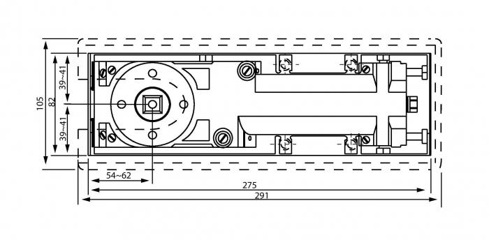 Amortizor pardoseala deschidere max 180° EN 1-4 8460 V 1