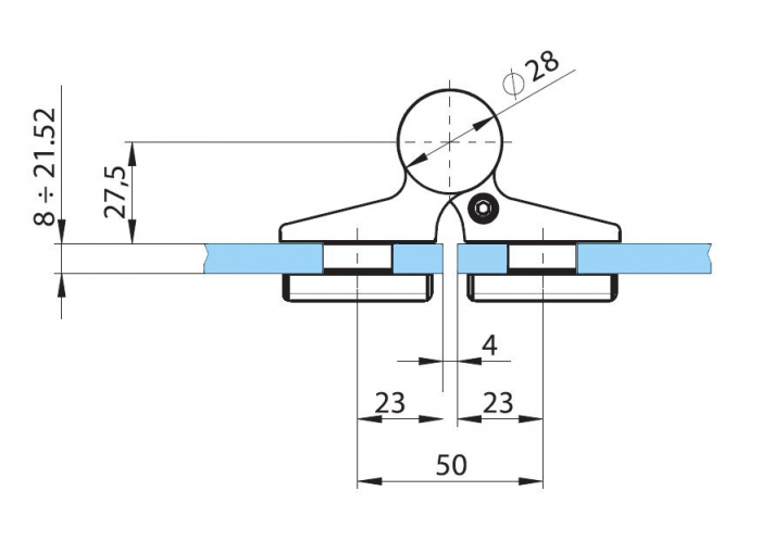 Balama hidraulica Biloba EVO cu blocare 90°/180° fixare pe sticla 3