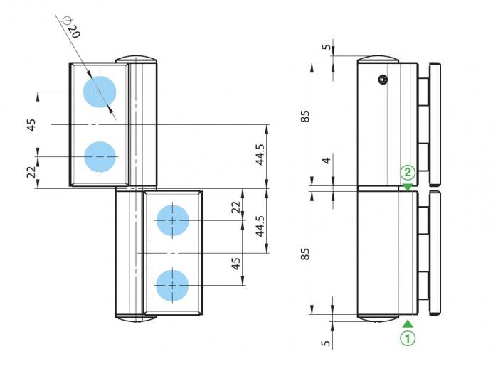 Balama hidraulica Biloba EVO cu blocare 90°/180° fixare pe sticla 2