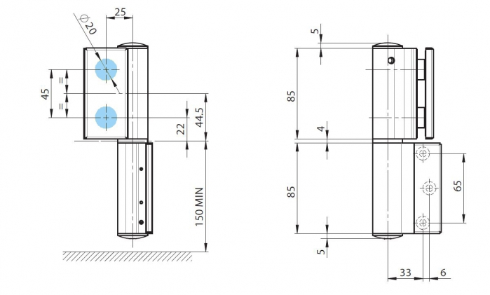 Balama hidraulica Biloba EVO SOL fara blocare fixare pe perete 2