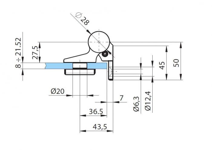 Balama hidraulica Biloba EVO SOL fara blocare fixare pe perete 3