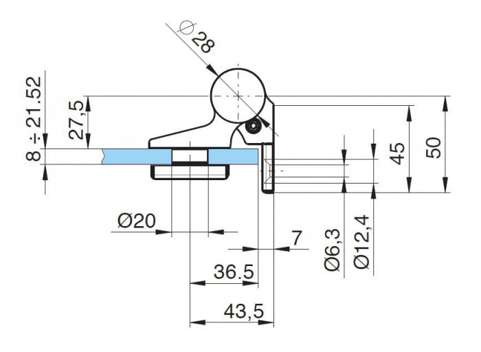 Balama hidraulica Biloba EVO cu blocare 90°/180° fixare pe perete 3