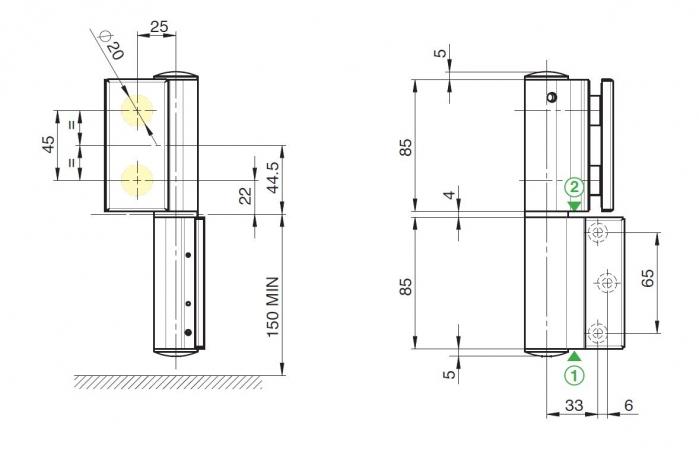 Balama hidraulica Biloba EVO cu blocare 90°/180° fixare pe perete 2