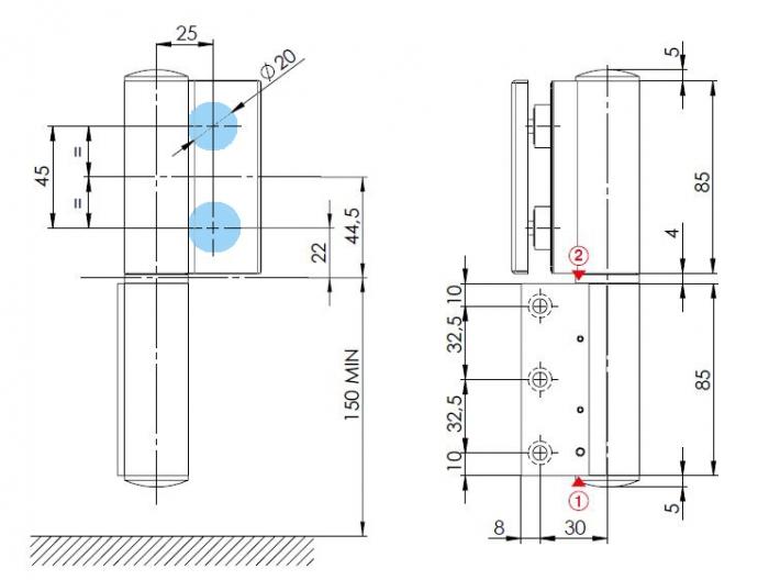 Balama hidraulica Biloba EVO Frame cu blocare 90°/180° fixare pe toc aluminiu 2