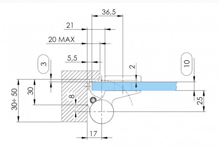 Balama hidraulica Biloba EVO Frame cu blocare 90°/180° fixare pe toc aluminiu 4