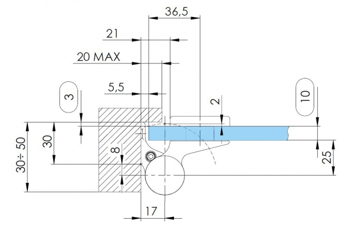 Balama hidraulica Biloba EVO Frame cu blocare 180° fixare pe toc aluminiu 4