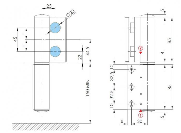 Balama hidraulica Biloba EVO Frame cu blocare 180° fixare pe toc aluminiu 2