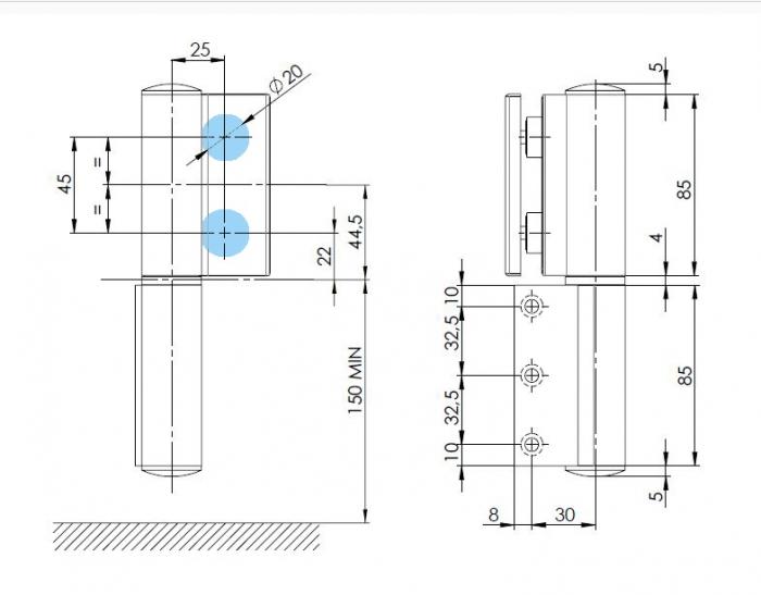 Balama hidraulica Biloba EVO SOL Frame fara blocare fixare pe toc aluminiu 2