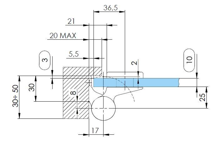 Balama hidraulica Biloba EVO SOL Frame fara blocare fixare pe toc aluminiu 3