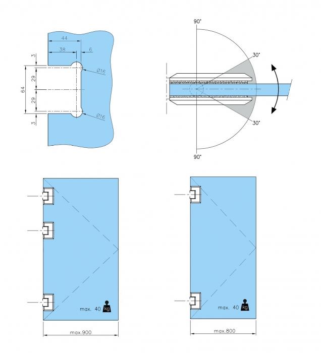 Balama sticla/sticla 180° usa batanta 2