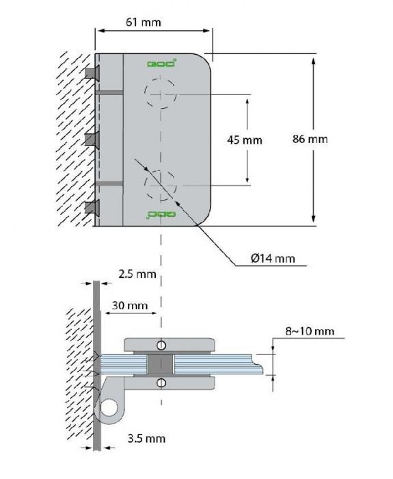 Balama incadrata usa sticla 8-10 mm 1