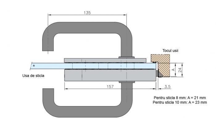 Broasca fara incuiere usa sticla 8-10 mm 3