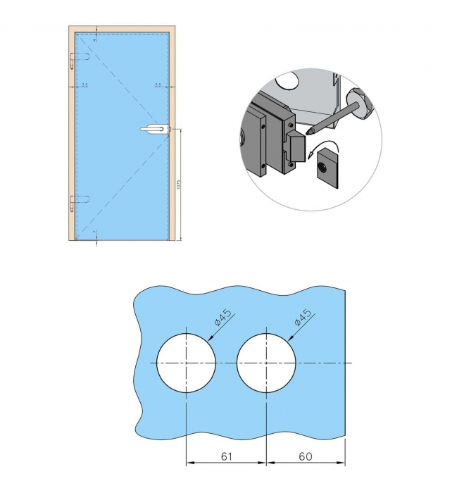 Broasca fara incuiere usa sticla 8-10 mm 2