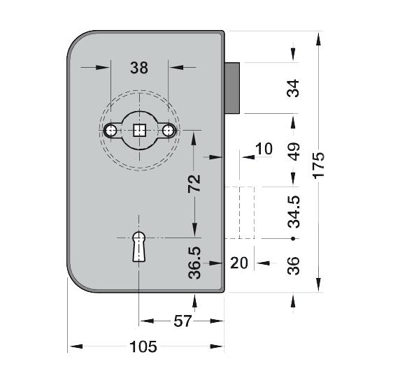 Broasca Dorma Junior Office incuiere din cheie usa sticla 8-10 mm 3