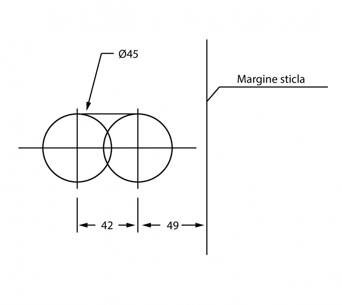 Broasca rectangulara pentru cilindru usa sticla 8-12 mm 1