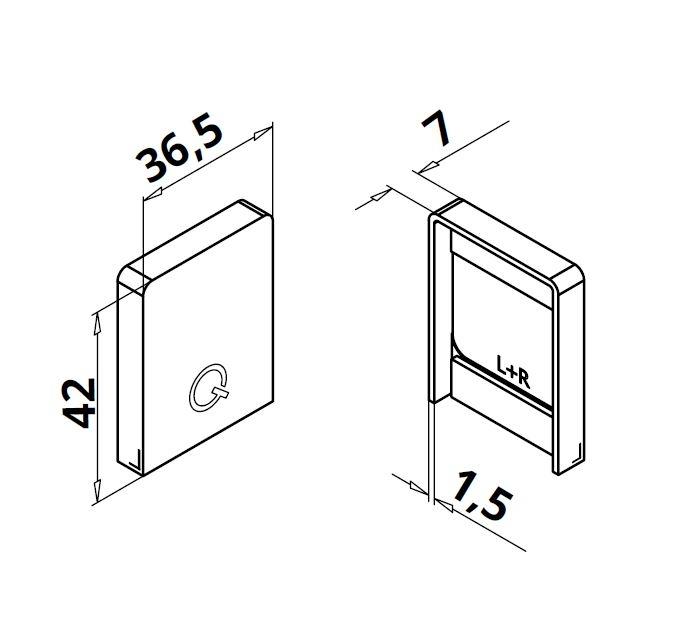 Capac capat profil mana curenta Easy Glass® Hybrid stanga-dreapta 1