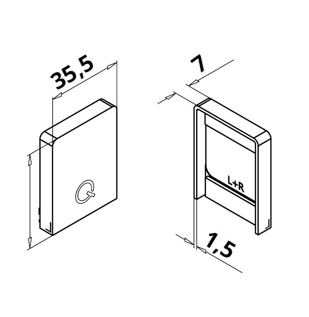 Capac capat profil U balustrada Easy Glass® Hybrid stanga-dreapta 1
