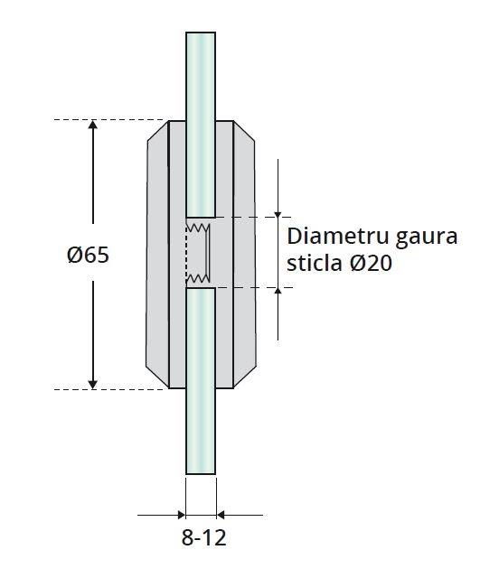 Maner scoica Ø65 mm, sticla 8-12 mm 1
