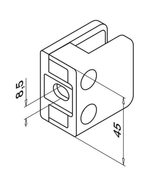 Clema MOD 21 fixare pe drept pentru montant balustrada sticla 6-10 mm 1