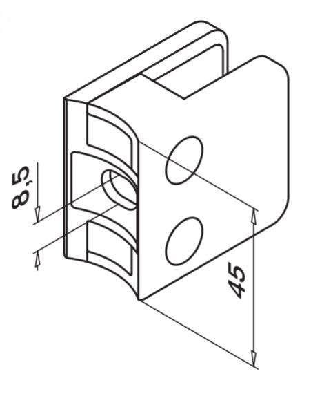 Clema MOD 21 fixare pe rotund pentru montant balustrada sticla 6-10 mm 1