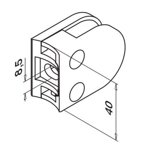 Clema MOD 20 fixare pe rotund pentru montant balustrada sticla 6-8 mm 1