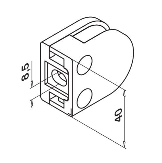Clema MOD 20 fixare pe drept pentru montant balustrada sticla 6-8 mm 1