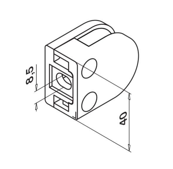 Clema MOD 27 fixare pe drept pentru montant balustrada sticla 8,76-10,76 mm 1