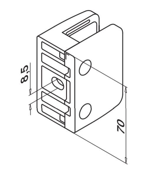 Clema MOD 24 fixare pe drept pentru montant balustrada sticla 9,52-17,52 mm 1