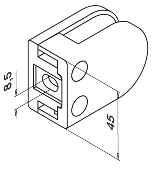 Clema MOD 22 fixare pe drept pentru montant balustrada sticla 6-10 mm 1