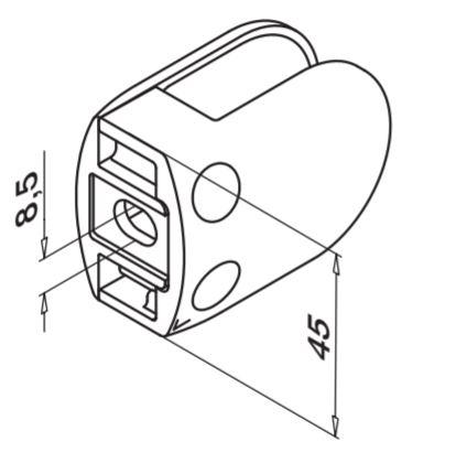 Clema MOD 28 fixare pe drept pentru montant balustrada sticla 6-12,76 mm 1
